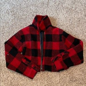 Forever 21 cropped checkered jacket